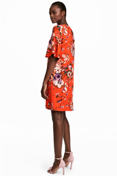 Flounce-sleeved dress - Red/Floral - Ladies | H&M
