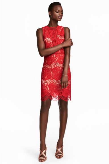 Lace dress - Red -  | H&M