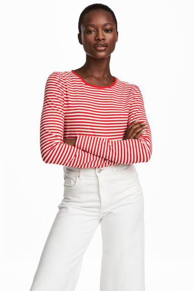 Long-sleeved jersey top - Red/Striped - Ladies | H&M
