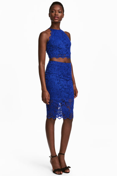 Fitted lace skirt - Cornflower blue - Ladies | H&M