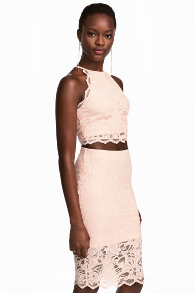Cropped lace top - Powder pink - Ladies | H&M CN