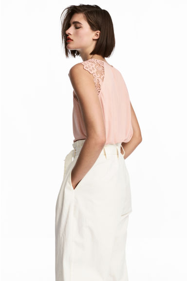 Jersey top with lace - Powder pink - Ladies | H&M CN