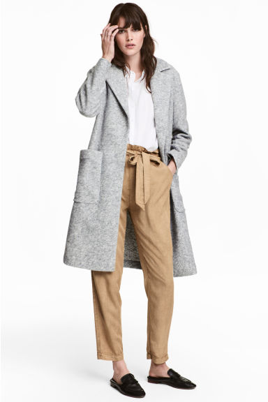 Wool-blend coat - Light grey marl -  | H&M