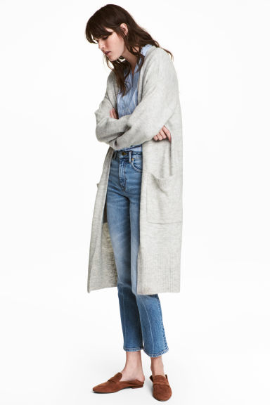 Gilet long - Gris clair chiné -  | H&M BE