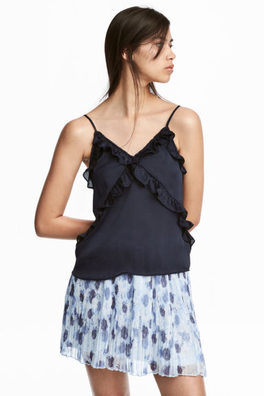 Frilled strappy top - Dark blue -  | H&M