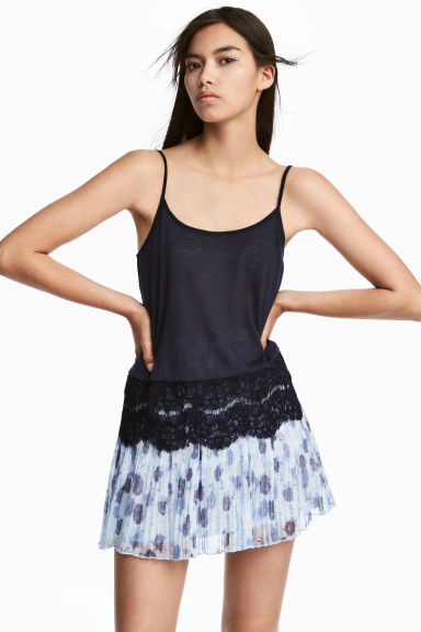 Strappy top with lace - Dark blue - Ladies | H&M