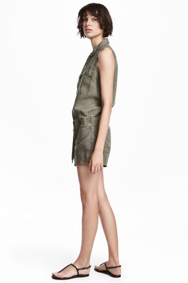 Lyocell playsuit - Khaki green - Ladies | H&M IE