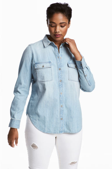 H&M+ Denim shirt - Light blue - Ladies | H&M