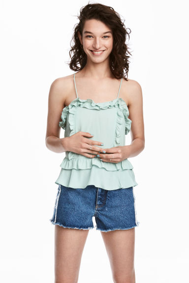 Flounced strappy top - Dusky green -  | H&M