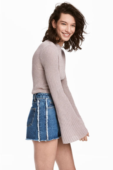 Trumpet-sleeved jumper - Light pink/Glittery - Ladies | H&M CN