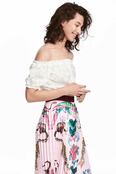 Kort off shoulder-topp - Vit -  | H&M FI