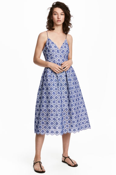 Cotton dress with embroidery - White/Blue floral - Ladies | H&M
