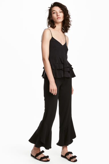 Flounced trousers - Black - Ladies | H&M CN