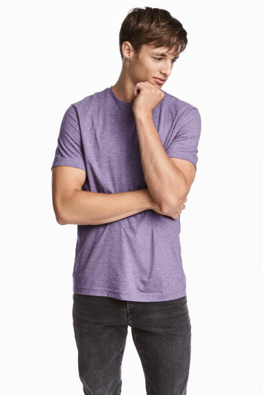 Set van 2 T-shirts - Slim fit - Paars/Taupe - HEREN | H&M NL