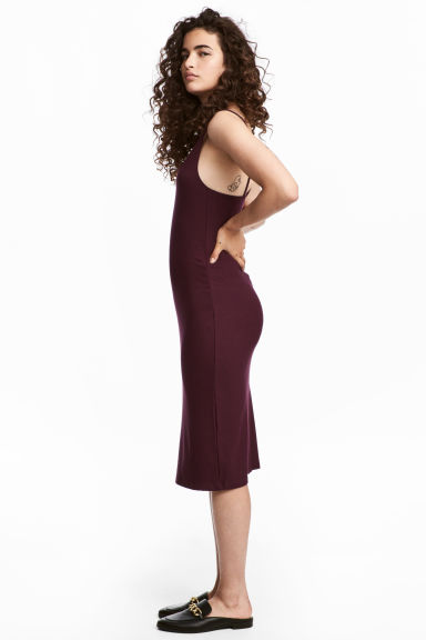 Ribbed jersey dress - Plum - Ladies | H&M CN