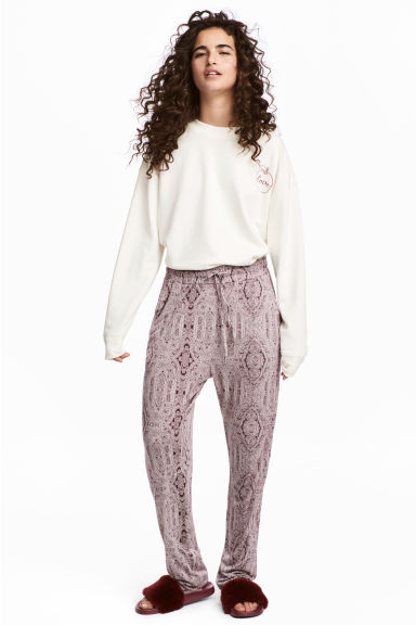 Jersey joggers - Burgundy/Patterned -  | H&M GB