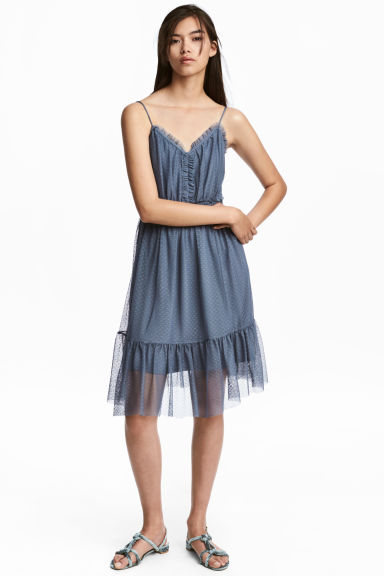 Mesh dress - Pigeon blue -  | H&M