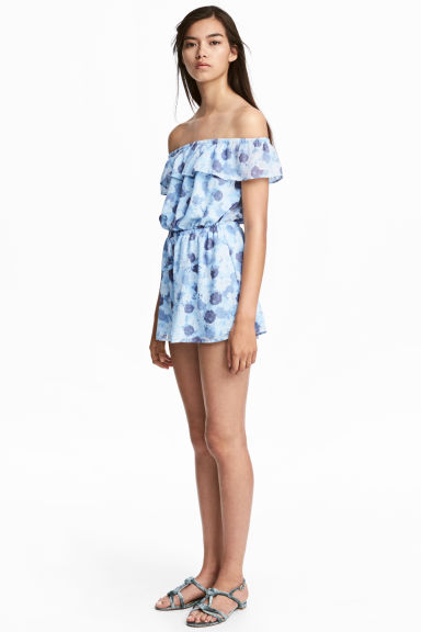 Off-the-shoulder playsuit - Light blue/Floral - Ladies | H&M