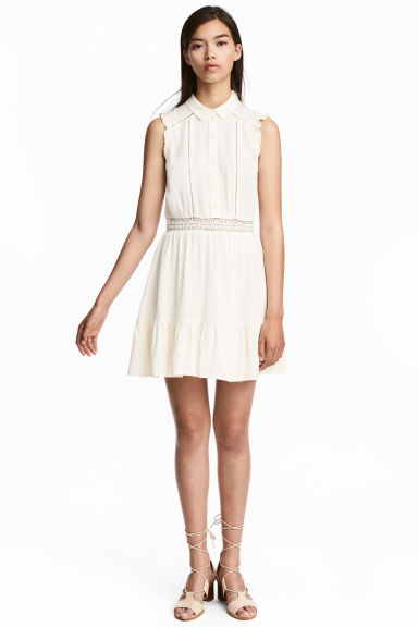 Lace-trim dress - White -  | H&M