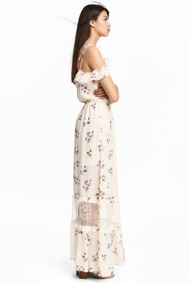 Off-the-shoulder dress - Natural white/Floral -  | H&M