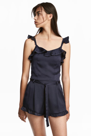 Frill-trimmed shorts - Dark blue - Ladies | H&M GB