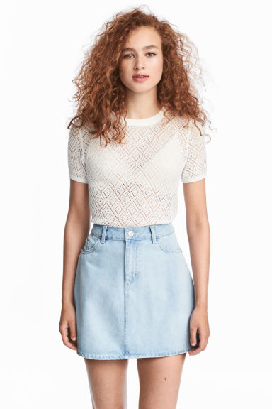Pointelle top - White - Ladies | H&M