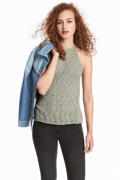 Fine-knit top - Khaki green - Ladies | H&M CN