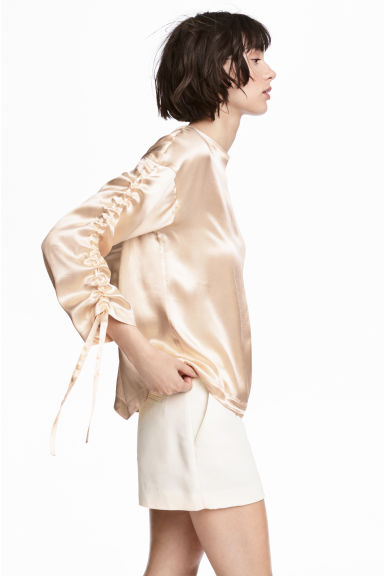 Satin blouse - Light beige -  | H&M
