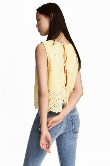 Cotton blouse with embroidery - Light yellow - Ladies | H&M IE