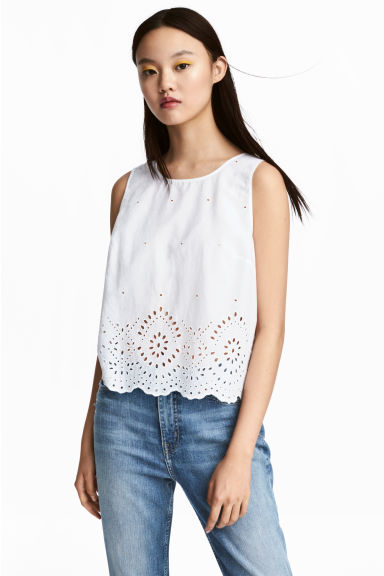 Cotton blouse with embroidery - White -  | H&M IE
