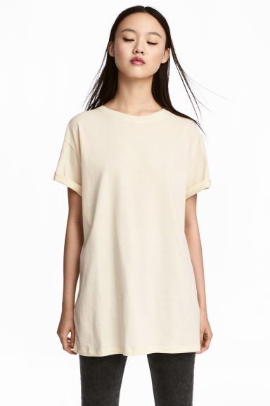 Cotton jersey T-shirt - Light beige -  | H&M