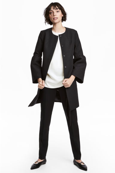 Wide-sleeved coat - Black - Ladies | H&M