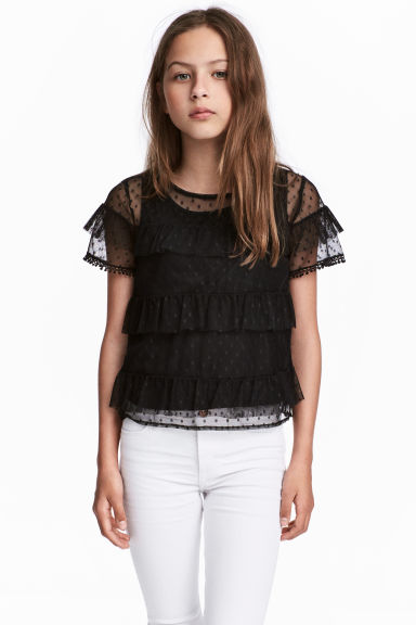 Tiered tulle top - Black -  | H&M CN