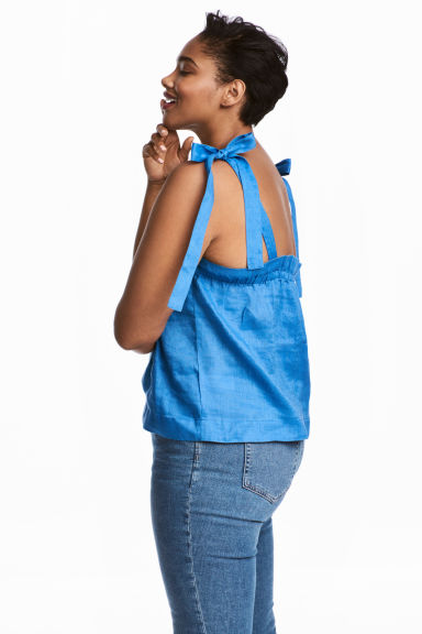 Linen top - Cornflower blue -  | H&M