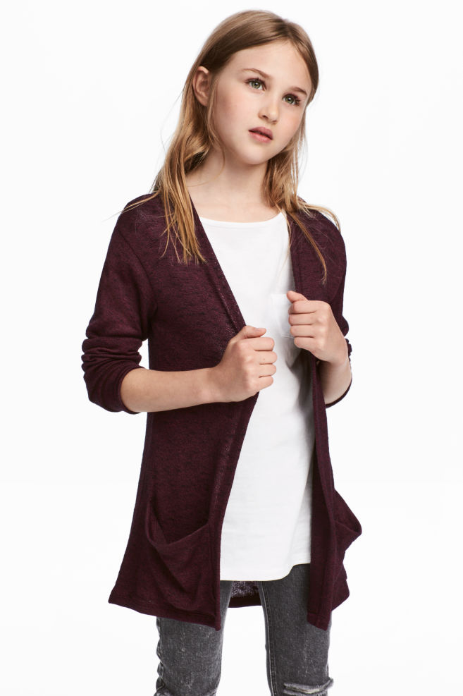 b2db693919a38a Fine-knit cardigan - Burgundy - Kids