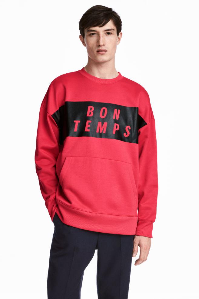 Oversized Trui Rood.Oversized Sweater Rood Zwart Heren H M Nl