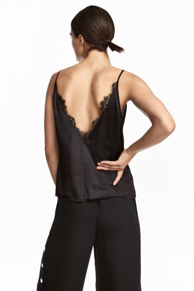 Top en satin - Noir -  | H&M FR