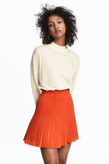 Pleated skirt - Orange -  | H&M