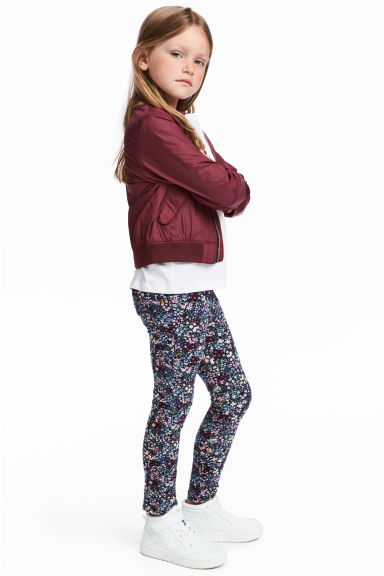 Jersey treggings - Dark blue/Floral - Kids | H&M IE