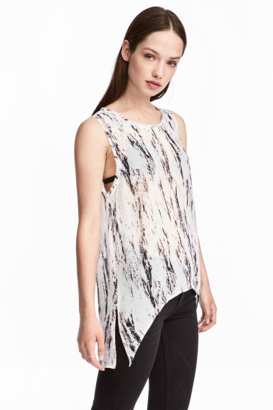 Sleeveless chiffon top - White/Marble -  | H&M