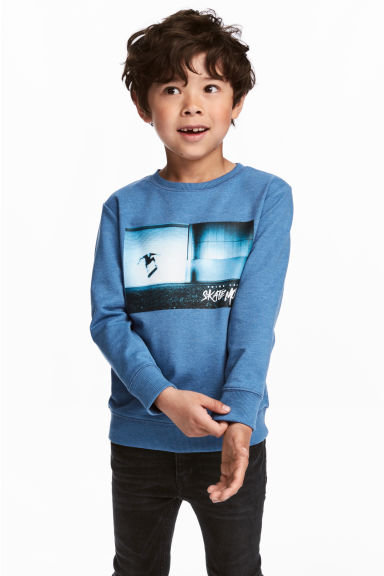 Printed sweatshirt - Blue - Kids | H&M CN