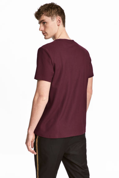 Cotton piqué T-shirt - Burgundy - Men | H&M CN