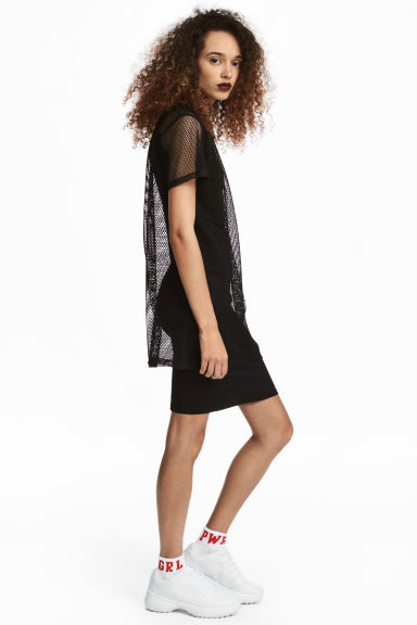 Mesh T-shirt dress - Black -  | H&M