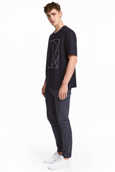 Satinbyxa Slim fit - Mörkblå -  | H&M FI