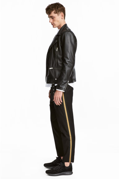 Suit trousers with stripes - Black/Camel -  | H&M