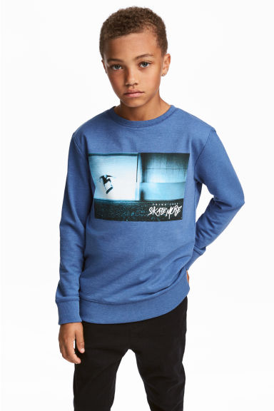 Printed sweatshirt - Blue/Skateboard - Kids | H&M CN