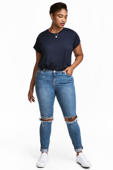 H&M+ Slim Regular Jeans - Blu denim/Trashed - DONNA | H&M IT