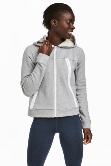 Outdoor jacket with a hood - Light grey marl - Ladies | H&M CN