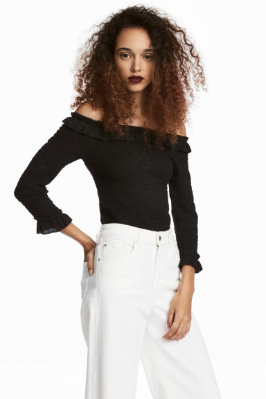 Smocked off-the-shoulder top - Black - Ladies | H&M