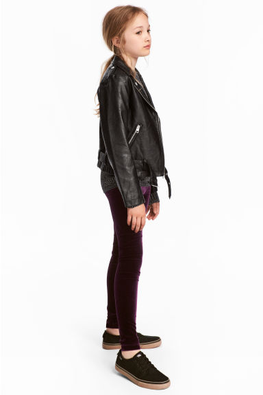 Velour leggings - Plum -  | H&M CN